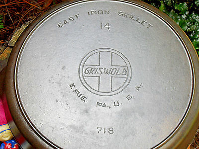 Griswold 14 Slant Logo Cast Iron Skillet - Level - Clean, Circa 1909-1929