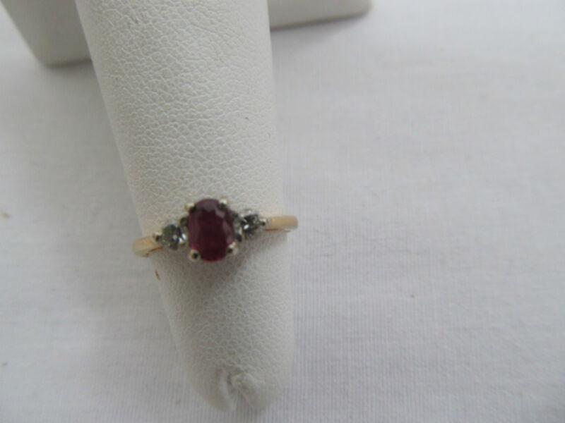 Vintage Hallmarked 14K Gold Diamond Jeweled Ring Size 3 1/2