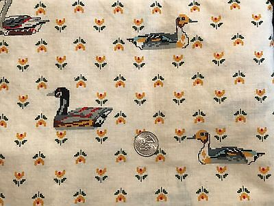 """Springs Large Mallard Duck on Cream Cotton Quilting Fabric 44"""" BTHY 1/2yd WASHED"""