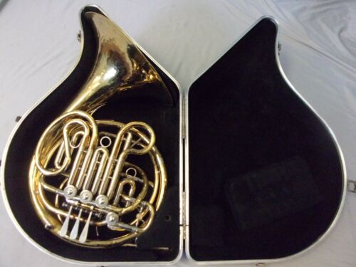 HOLTON FARKAS H180 PRO YELLOW BRASS DOUBLE FRENCH HORN + CASE ELKHORN, WIS. USA