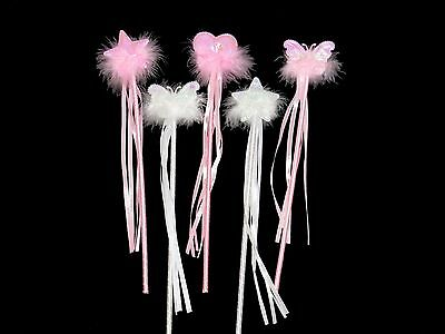 x6 PINK AND WHITE FAIRY WANDS BUTTERFLY STAR - White Flower Fairy Kostüm