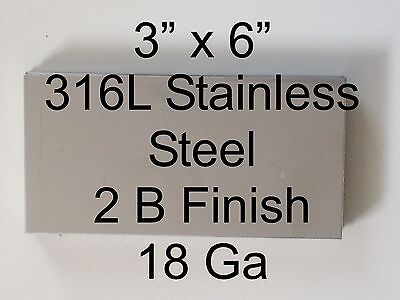 "8 pcs 316L 18 Ga 3"" x 6"" Stainless Steel Plate"