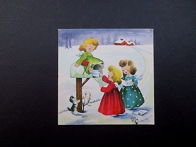 Unused Gibson Xmas Greeting Card Precious Angels Picking Up Mail with Kitten