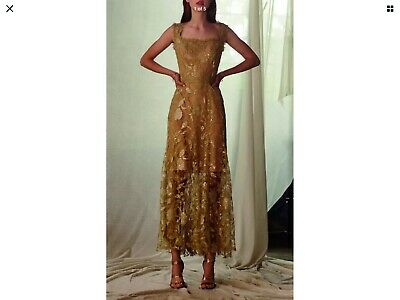 Costarellos Sequin Tulle Midi Dress in Gold, $1,695, NEW, Size US 10, FR 42