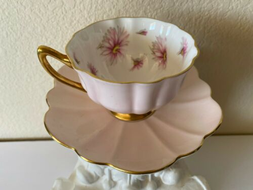 Vintage Shelley England Pink Daisies Bone China Tea Cup Saucer RARE