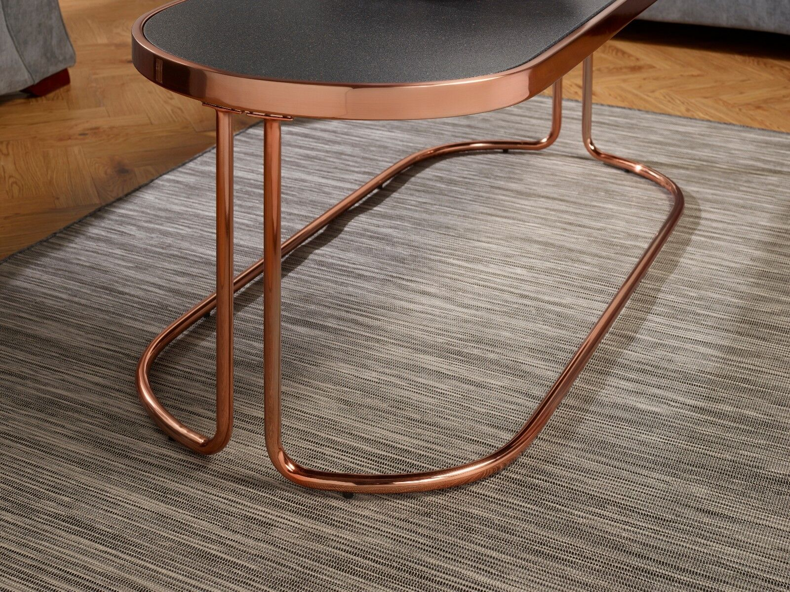 Zion Glass Top Coffee Table with Stone Effect Top and Metal Rose
