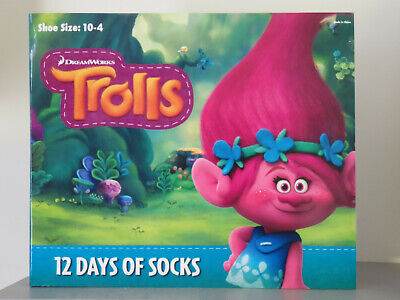 NEW! Dreamworks Trolls 12 Days of Socks Advent Calendar Girls *Shoe Size 10-4*