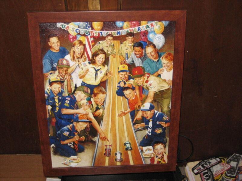 75th Anniversary of Cub Scouting Print, Joe Csatari, wooden frame