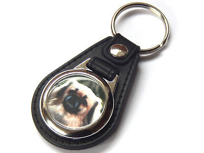 TIBETAN SPANIEL CREAM Dog Puppy Quality Leather and Chrome Keyring