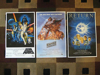 """Star Wars Trilogy (11"""" x 17"""") Movie Collector's Poster Prints (Set of 3)"""