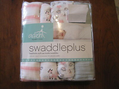 New NWT Aden + Anais Girl Meadow Fox Pink Set 4 Pack Muslin Swaddle Blankets