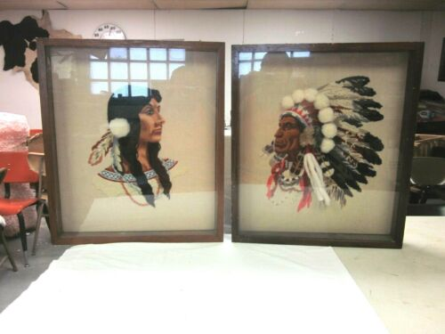 Vintage Set Native American Indian Finished Crewel Embroidery Framed Wall Art