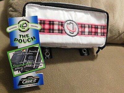 Case-it Padded Case Pencilpencalculatorphone Pouch White With Pink Plaid New