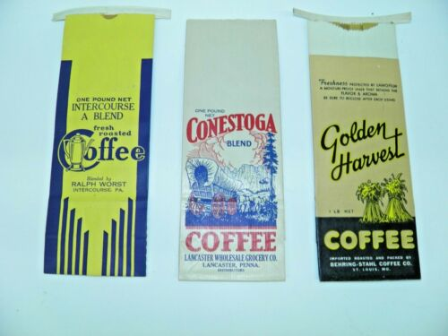Lot Of 3 Different Original Vintage Coffee 1 Pound Bags 1940