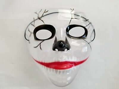 Transparent Halloween Mask (The Purge Plastic Transparent Face Mask Halloween Fancy Dress Horror clear)