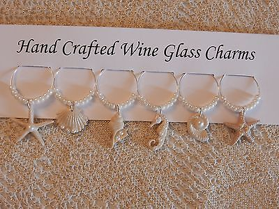 """""""BEAUTIFUL OCEAN SHELLS'' SET OF 6  HAND CRAFTED wine glass drink markers"""