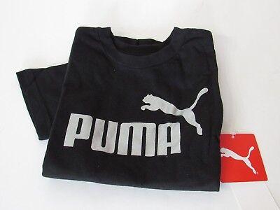 Puma Boys Black Big Cat Logo Short Sleeve T Shirt  Size 5