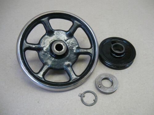 Vtg Franklin VS Treadle Sewing Machine Chrome Rim Spoked Balance Wheel Assembly