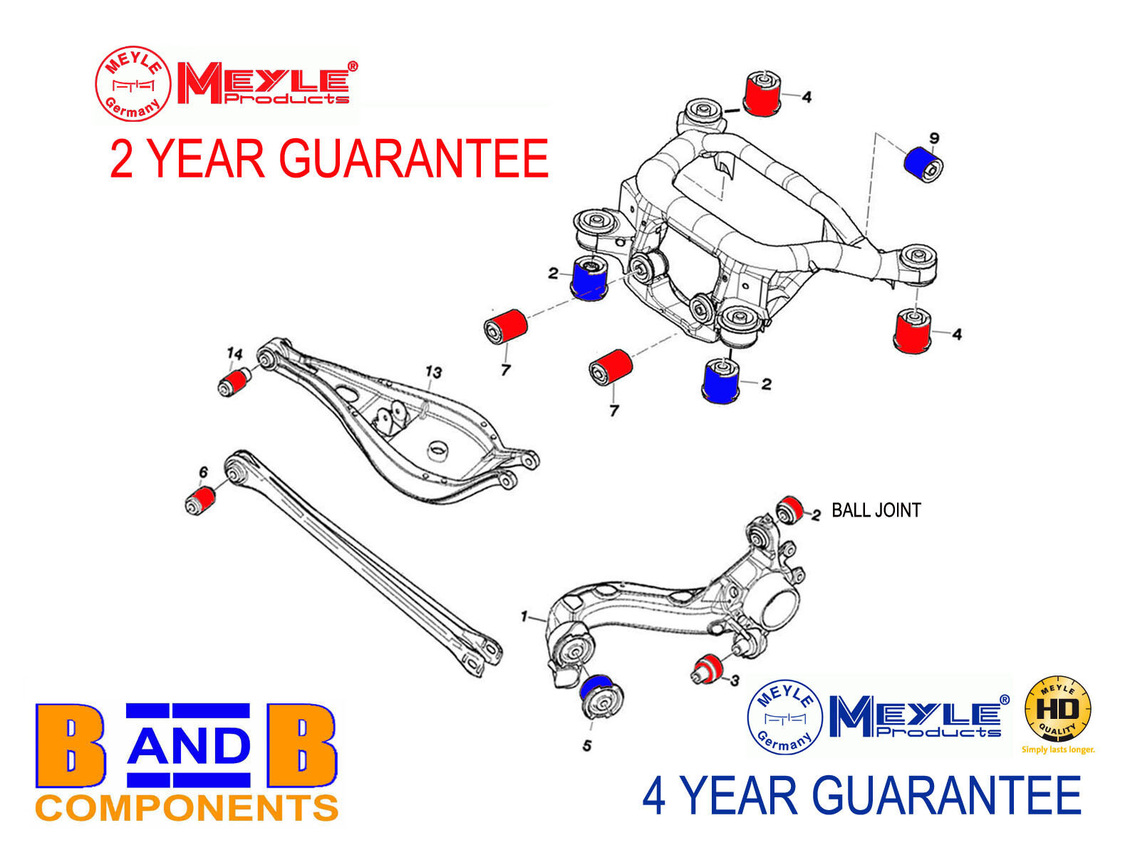 BMW E46 REAR CONTROL ARM MOUNT TRAILING SUBFRAME BUSH KIT SET MEYLE A755