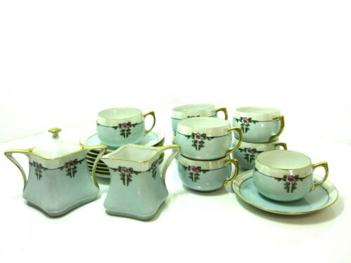 18 pc D & B Germany Turquoise Blue Lusterware TEA SET Cups Saucers Cream Sugar