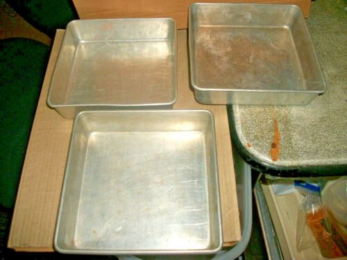 "3 Vintage Square Baking/Cake Pans 1 Mirro #5666-M 2 Unbranded 8"" X 8"""