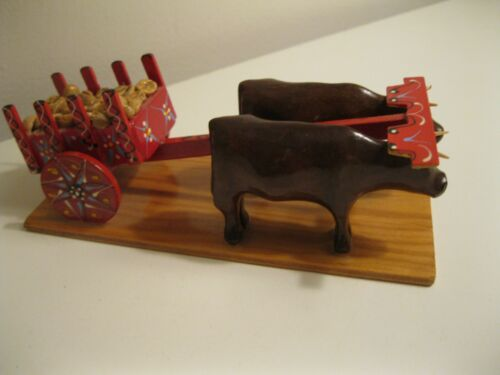 """Vintage Wood Wagon and Ox Costa Rica Red Ox Cart hand painted 6"""" long"""