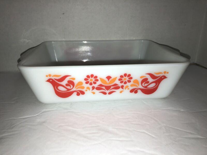 Vintage Pyrex Dish 0503 Friendship Red & Orange Bird Design 1 1/2 Qt Casserole