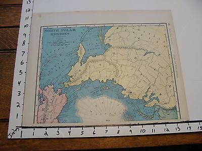 "Vintage 11 x 14""  MAP 1895--NORTH POLAR REGIONS"