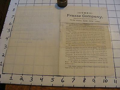 Vintage advertisement: THE FRASSE COMPANY, New York, circa 1893