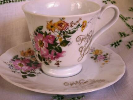 1970 Vintage SAJI fine China cup & Saucer- For A Dear Grandmother