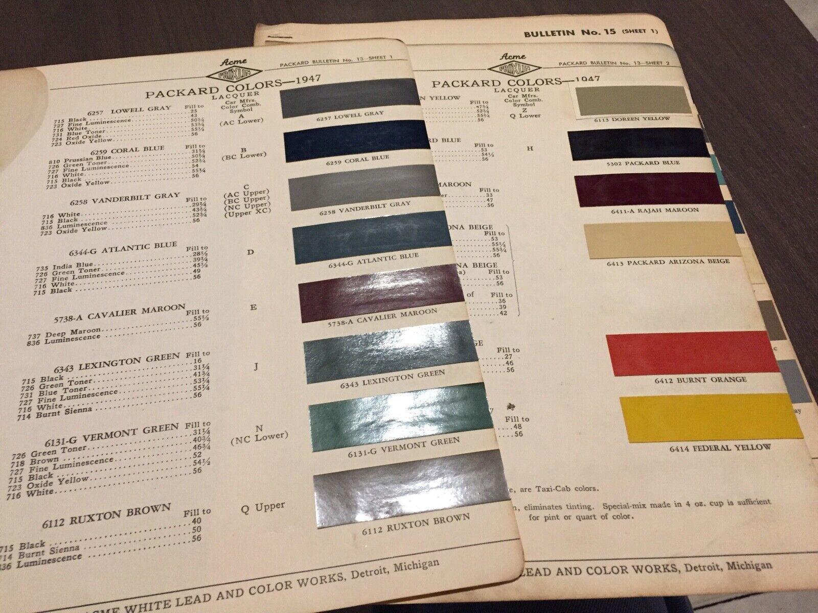 1947.  PACKARD . PAINT CHIPS.    ORIGINAL CHART
