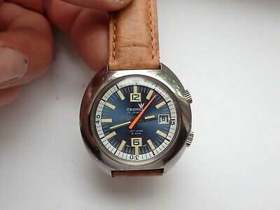 VINTAGE CRONEL DIVERS TYPE JET KING ORANGE SEC 17 JEWELS MANUAL WIND NEW STRAP