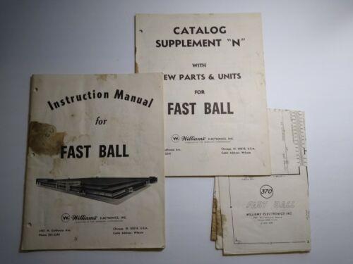 Williams Fast Ball Pinball Instruction Manual & Game Schematic Originals 1969