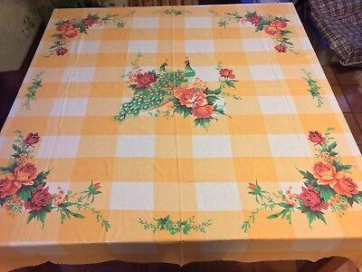 Vintage Belgium French Country Yellow Orange Checks Peacocks Roses Tablecloth 6'