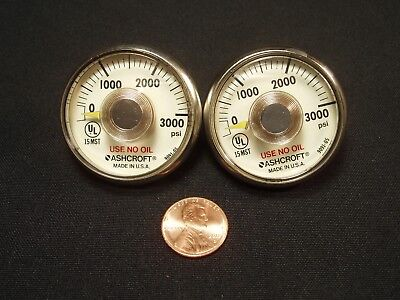 Quantity 2 Ashcroft 0-3000 Psi Pressure Gauges Nos New Old Stock