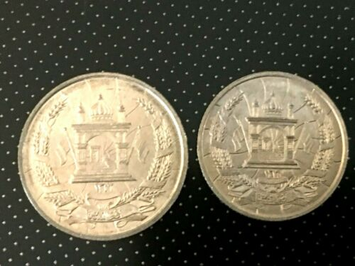 1937 AFGHANISTAN  2 COIN SET 10 PUL KM939 25 PUL KM940 UNCIRCULATED