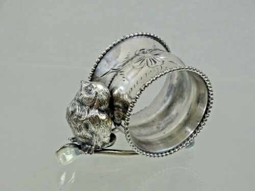 ANTIQUE FIGURAL WISHBONE BIRD CHICK SILVER PLATED NAPKIN RING AMERICAN 19 cent.