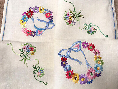 VINTAGE HAND EMBROIDERED NATURAL LINEN TABLE CENTRE TRAY CLOTH  23X16 INCHES