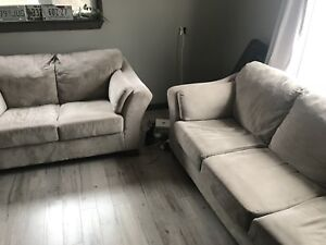 Very nice greige couch and loveseat