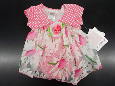 Infant Girls Bonnie Baby Pink   White Floral Dress Size 3 6 Months   24 Months