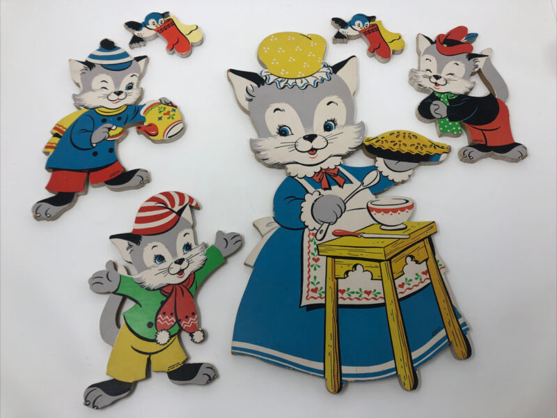 Vtg 1950s Dolly Toy Co Pin Ups Mother Cat 3 Kittens Lost Their Mittens Nursery