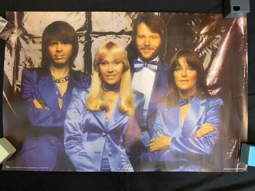 ABBA blue satin suits tuxedos Arrival era Scotland rolled poster 1977 Pace