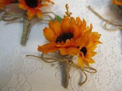 Silk Flower Accents - USA Orange Sunflower orange accents silk flower Bridal Boutonniere Corsage
