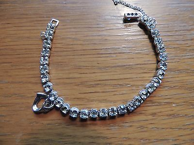 Vintage Signed Weiss Clear Rhinestone Bracelet in Silver Tone with heart.  Nice!