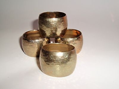 Hammered Brass Napkin Rings Holders Set of 4 Made in Hong Kong Mod wedding decor