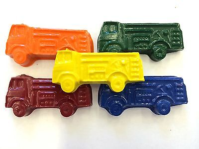 10 sets of 5 FIRE TRUCK ENGINE Transportation Crayon Party Favor Teacher Supply