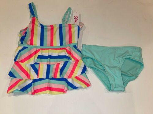 NEW Girls JUSTICE 2 Pc Tankini Swimsuit UPF 50+ Striped Ruffles Sz 7 8 10 12 14