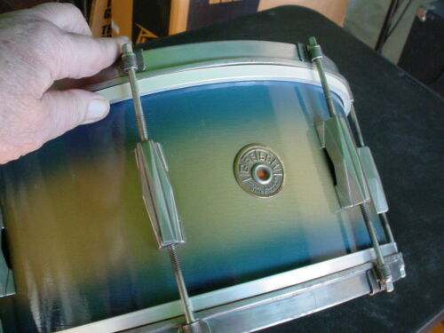 Vintage 1941 Gretsch Snare Drum Blue Gold Duco Finish Exceptional Orig Condition
