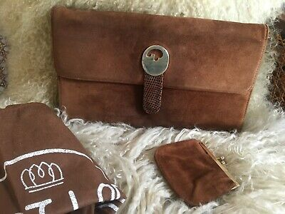 Vintage GUCCI Suede & Leather Clutch Bag and Coin Purse