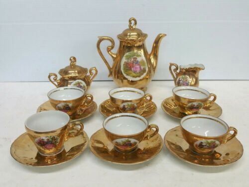 Antique JKW Karlsbad Germany Porcelain Tea Coffee Set Gilt Gold 17 Piece